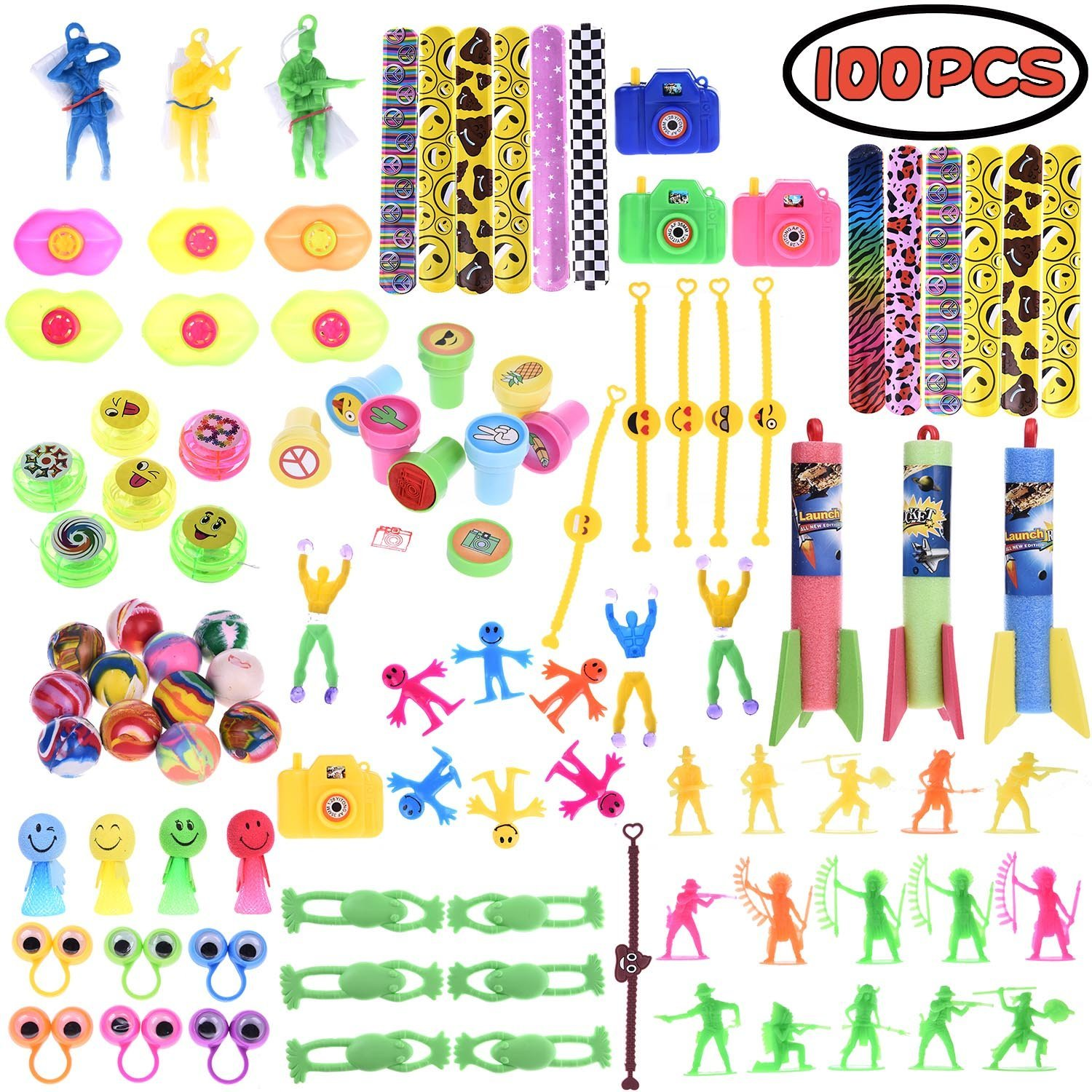 Assorted Giveaway Toys for Party Favor Boxes for Kids, Pinata Filler Toy,Party Supply,Slap Bracelets, Mini Cameras,Stamps,Yo-Yos,Wall Climbing for Easter Egg Fillers,Goodie Bags for Birthday F-170