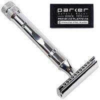 Parker 89R Super Heavy Weight Double Edge Safety Razor & 5 Pack of Parker Premium DE Blades!