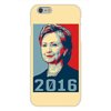Apple Iphone 6 Custom Case White Plastic Snap on -  2016  Hillary Clinton Presidential Candidate Easy access to all buttons and ports!