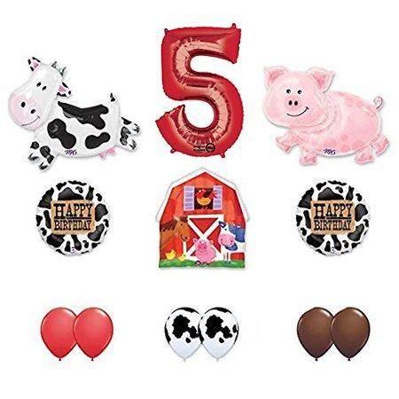 Farm Animal Birthday Supplies (Barn Farm Animals 5th Birthday Party Supplies Cow, Pig, Barn Balloon)
