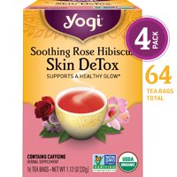 (Pack of 4) Yogi Tea, Soothing Rose Hibiscus Skin DeTox Tea, Tea Bags, 16 Ct, 1.12 OZ