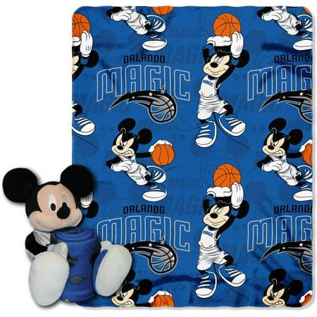 "Official NBA and Disney Cobrand Orlando Magic Mickey Mouse Hugger Character Shaped Pillow and 40""x 50"" Fleece Throw Set"