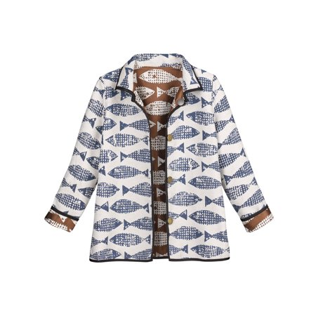 Catalog Classics Women's Reversible Jacquard Jacket - Fish Patterned Coat