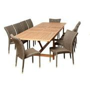 Weston 11-Piece Eucalyptus/Wicker Extendable Patio Dining Set