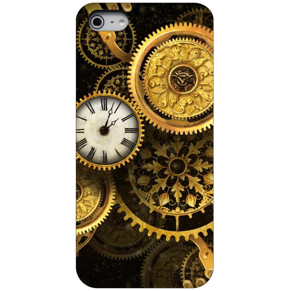 CUSTOM Black Hard Plastic Snap-On Case for Apple iPhone 5 / 5S / SE - Clocks Clockwork Gold