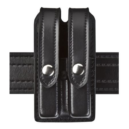Safariland 78-Slimline Double Mag Pouch Beretta 8000 Plain Black w/Chrome Snaps ()