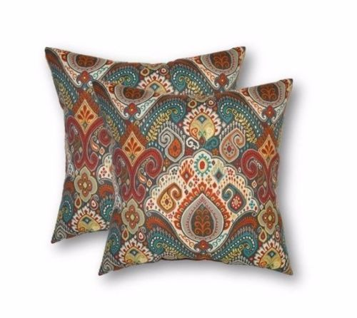 Set Of 2 20 Boho Paisley Teal Red Outdoor Throw Pillows 20