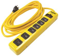 Coleman Cable Yellow Jacket 6 Outlet Metal Surge Protector, 15 Ft.