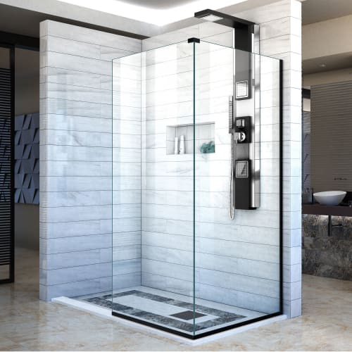 "DreamLine SHDR-3234303 Linea Two Adjacent Frameless Shower Screens 30"" and 34"" W"