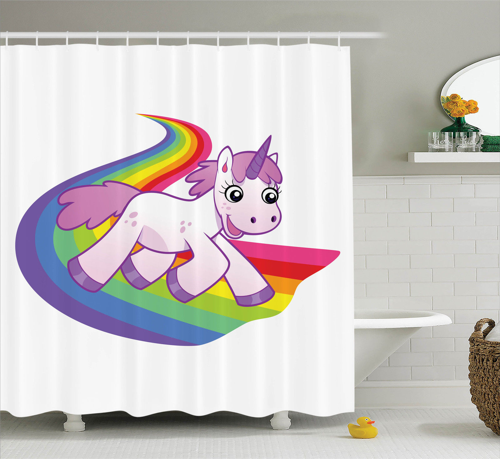 Cartoon Decor  Baby Unicorn Runs On The Rainbow Mythological Fantasy Legendary Creature With The Horn, Bathroom Accessories, 69W X 84L Inches Extra Long, By Ambesonne