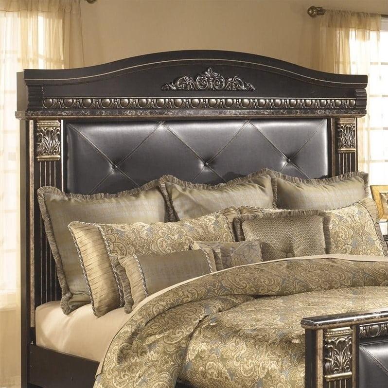 Ashley Coal Creek Upholstered King Panel Headboard in Dark Brown by Ashley Furniture