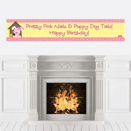 Girl Puppy Dog - Party Decorations - Birthday Party Banner - Puppy Birthday Decorations