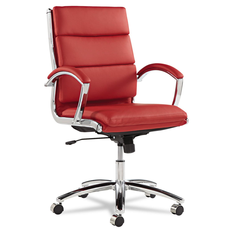 Alera Neratoli Series Mid-Back Swivel/Tilt Chair, Black Leather