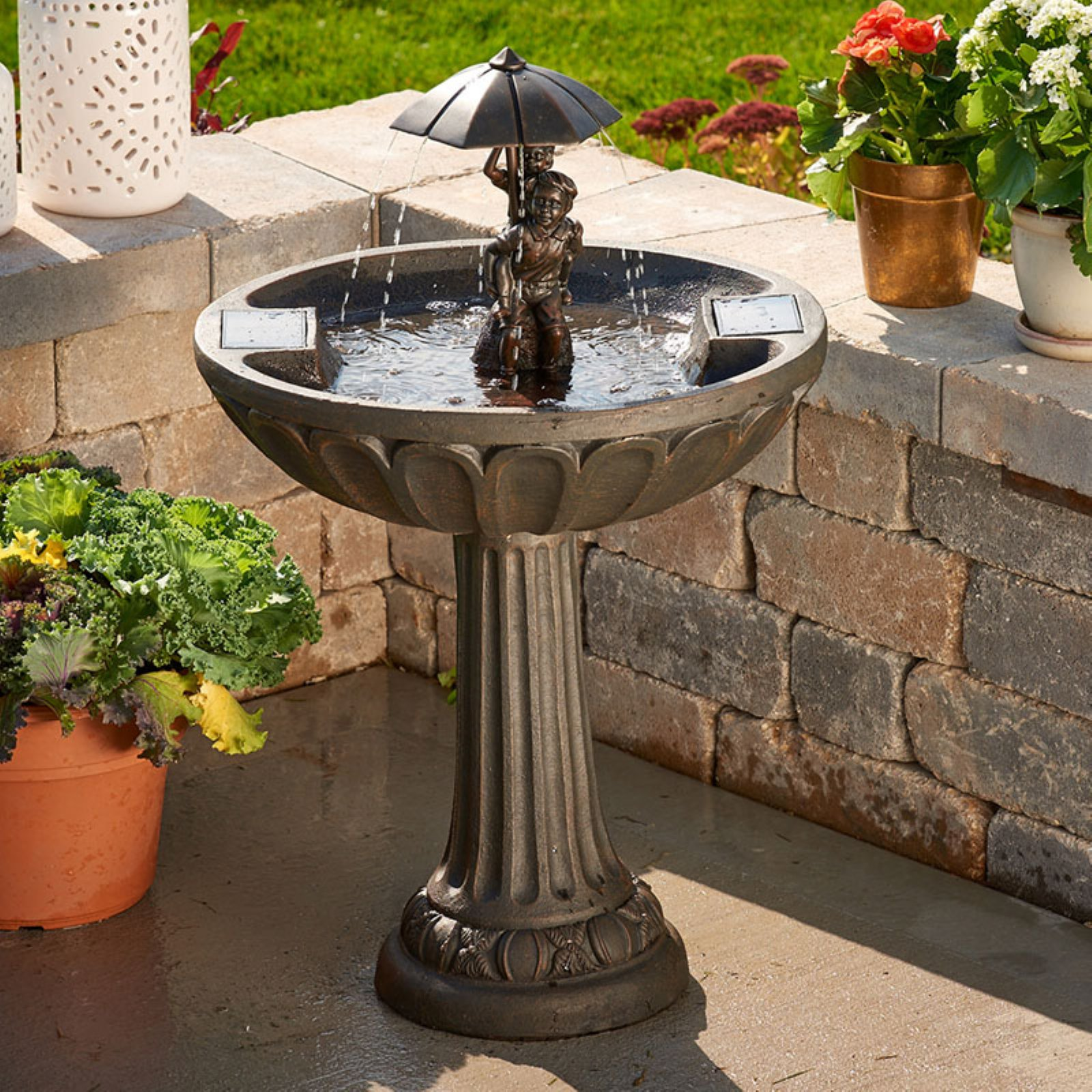 Umbrella Solar Fountain: Boy & Girl Piggyback by Smart Living Home & Garden