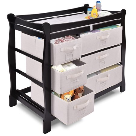Costway Black Sleigh Style Baby Changing Table Diaper 6 Basket Drawer Storage - Angel Line Changing Table
