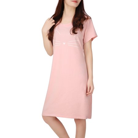 2a0064ce50 HDE - HDE Women s Sleep Shirt Dress Short Sleeve Nightgown Pajama Oversized  Nightshirt (Cute Cat Pink