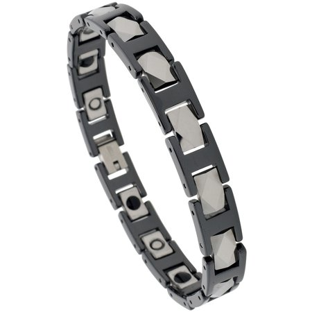 Tungsten & Ceramic Bracelet Magnetic Therapy, 2-Tone Black & Gun Metal Diamond Faceted Rectangular Links, 3/8 inch (Diamond Ceramic Bracelet)