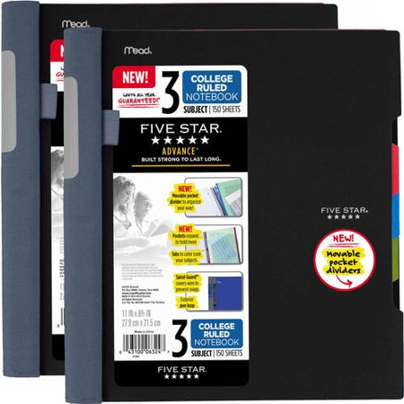 (2 Pack) Five Star Advance Notebook, 3 Subject, College Ruled, Assorted Colors (08285) (2 Subject College Ruled Notebook)