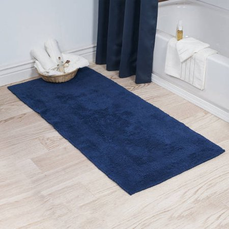 Somerset Home 100% Cotton Reversible Long Bath Rug - Navy ...
