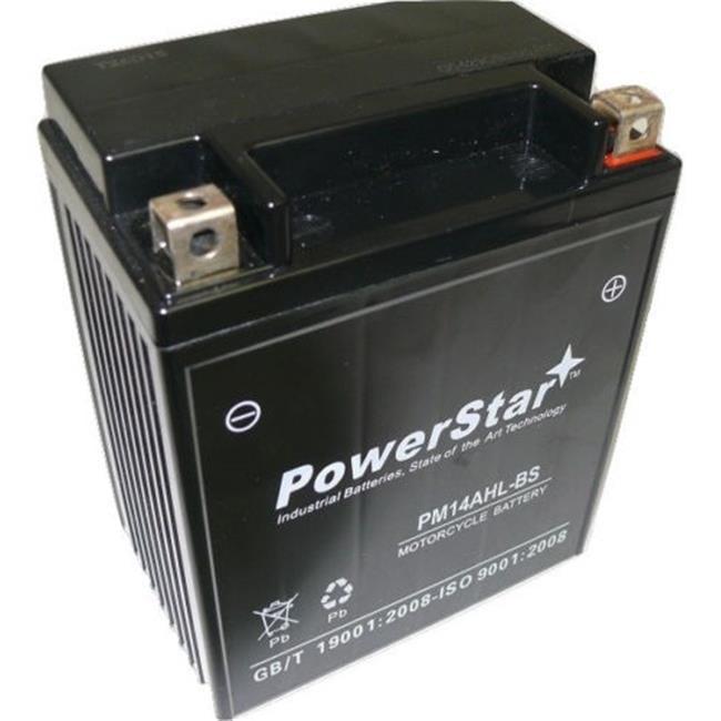 BatteryJack PM14AHL-BS-08 14AHL - BS Powersports Battery - Replaces ETX15L, YTX14AHL - BS, GTX14AHL - BS