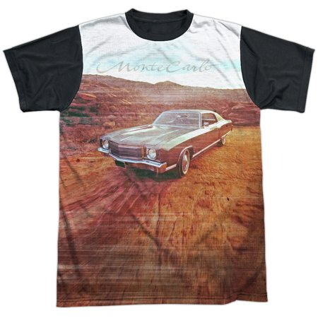 Chevrolet Automobiles Chevy Vintage Monte Carlo Photo Adult Black Back T Shirt