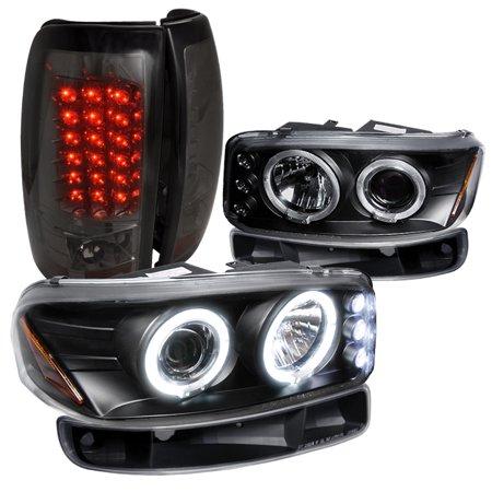 Spec-D Tuning 1993-2003 Gmc Sierra Fleet Side Black Led Proj Headlights, Bumper Lights, Smk Led Tail Lamps (Left + Right)