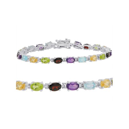10ct TGW Multi Gemstone Tennis Bracelet in Sterling Silver ()