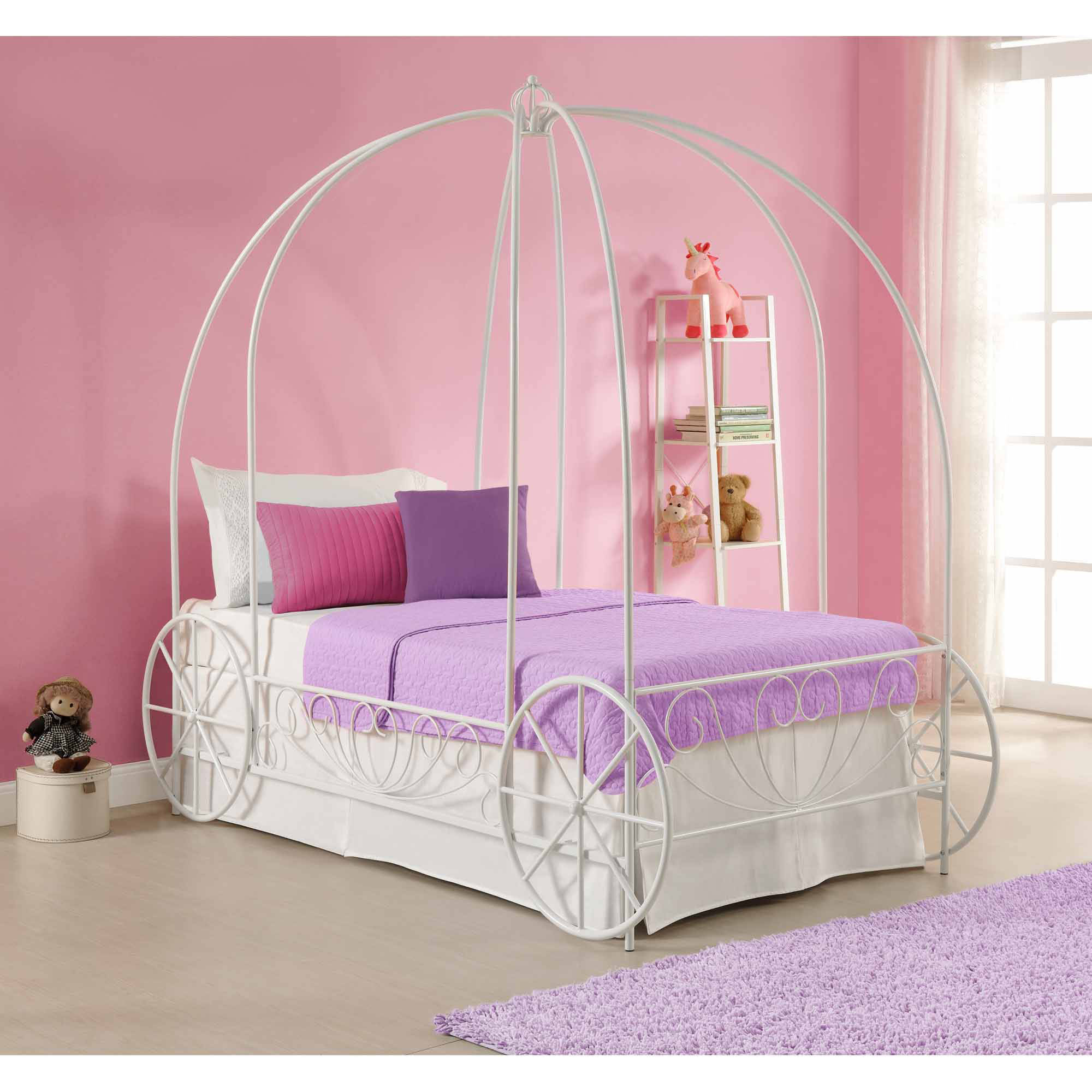 DHP Metal Twin Carriage Bed, Multiple Colors