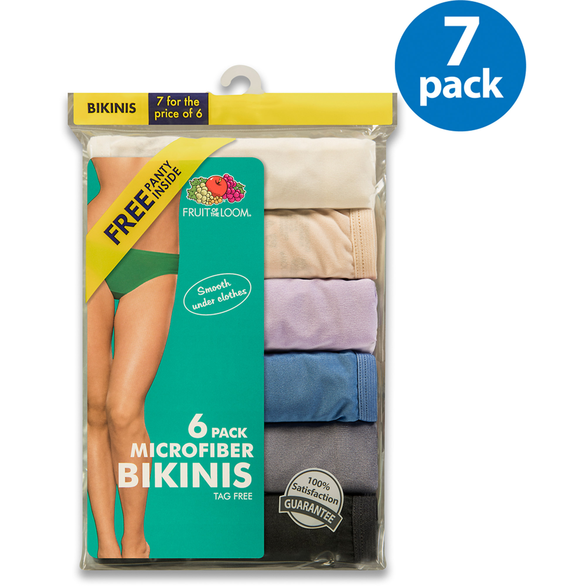 Fruit of the Loom Ladies' Microfiber Bikinis 6+1 Bonus Pack