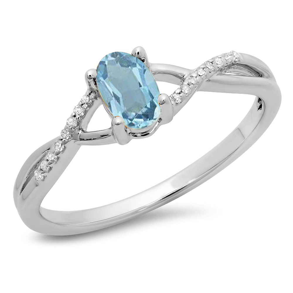 Dazzling Rock 0.50 Carat (ctw) 18K White Gold Oval Cut Blue Topaz & Round Cut White Diamond Ladies Bridal Swirl Split Shank Engagement