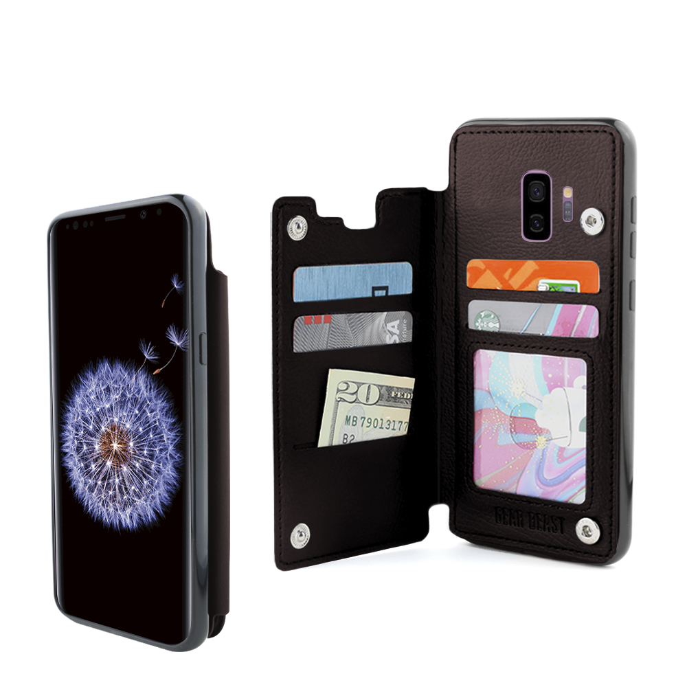 Gear Beast Galaxy S9 Wallet Case, TopView Secure Flip Folio Case w/ RFID Protection for Samsung Phone Slim Cover with 3 Card Holder Slots, Transparent ID Holder and Cash Pocket Slot