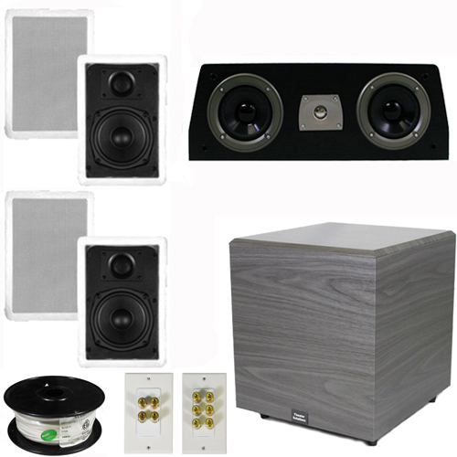 "Theater Solutions 5.1 Home Audio Speakers 4 Speakers, 1 Center, 12"" Powered Sub and More TS50WC51SET6"