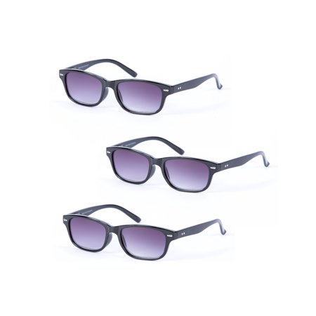 Mass Vision 3 Pair of Classic The Intellect Full Reading Sunglasses - Outdoor Reading Sunglasses NOT (Mass Vision Sunglasses)