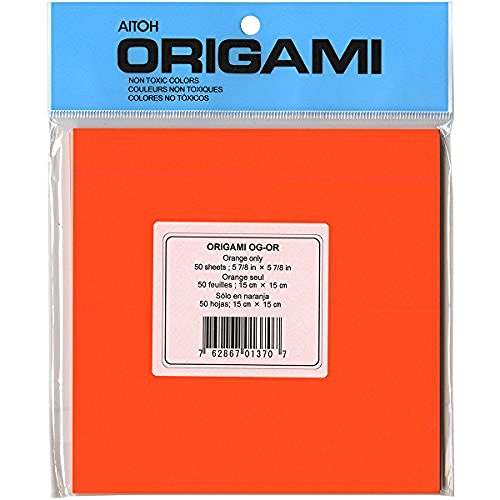 Aitoh OG-OR Origami-Sheet 5.875-Feet by 5.875-Inch, Orange, 50-Pack