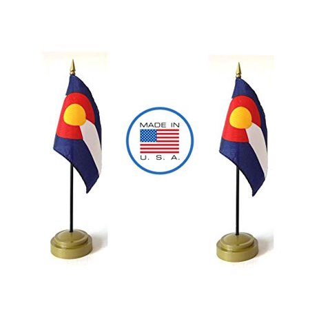 """Image of """"Made in The USA Flag Set. 2 Colorado Rayon 4""""""""x6"""""""" Miniature Office Desk & Little Hand Waving Table Flags Includes 2 Bronze Flag Stands & 2 Small Mini Colorado Stick Flags"""""""