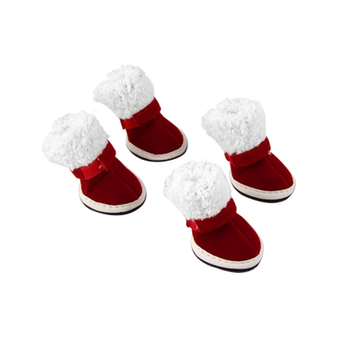 Unique Bargains Doggy Sz 4 Detachable Closure Red White Christmas Boots