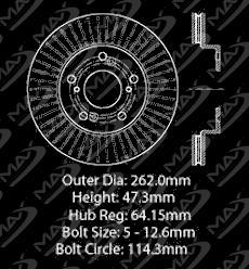 Max Brakes Front Premium Brake Kit [ OE Series Rotors + Metallic Pads ] TA115441 | Fits: 2013 13 Honda Civic LX Models w/Manual Transmission and HF Models - image 2 de 8