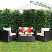 Topbuy 4PC Patio Rattan Wicker Conversation Furniture Set Sectional Sofa & Coffee Table