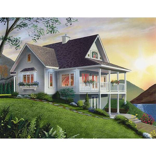 TheHouseDesigners-1143 Country House Plan with Walkout Basement Foundation (5 Printed Sets)