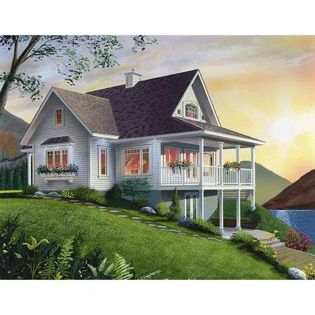 TheHouseDesigners-1143 Construction-Ready Country House Plan with Walkout Basement Foundation (5 Printed Sets)