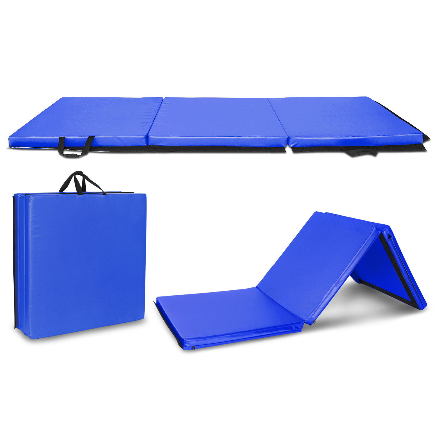 """Zimtown 6'x2'x2""""/ 4.5'x2'x1.2""""/ 10'x3.3'x4"""" Gymnastics Mat, Air Inflatable Tumbling Pad, Folding Exercise Aerobics Yoga Mats, with Hook & Loop Fasteners, for Stretching, Martial Arts, karate, MMA"""