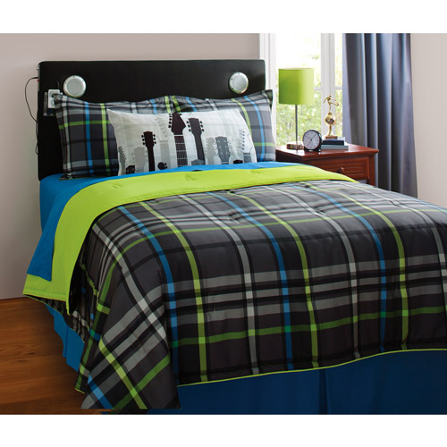 your zone mad plaid reversible bedding set with statement pillowcase