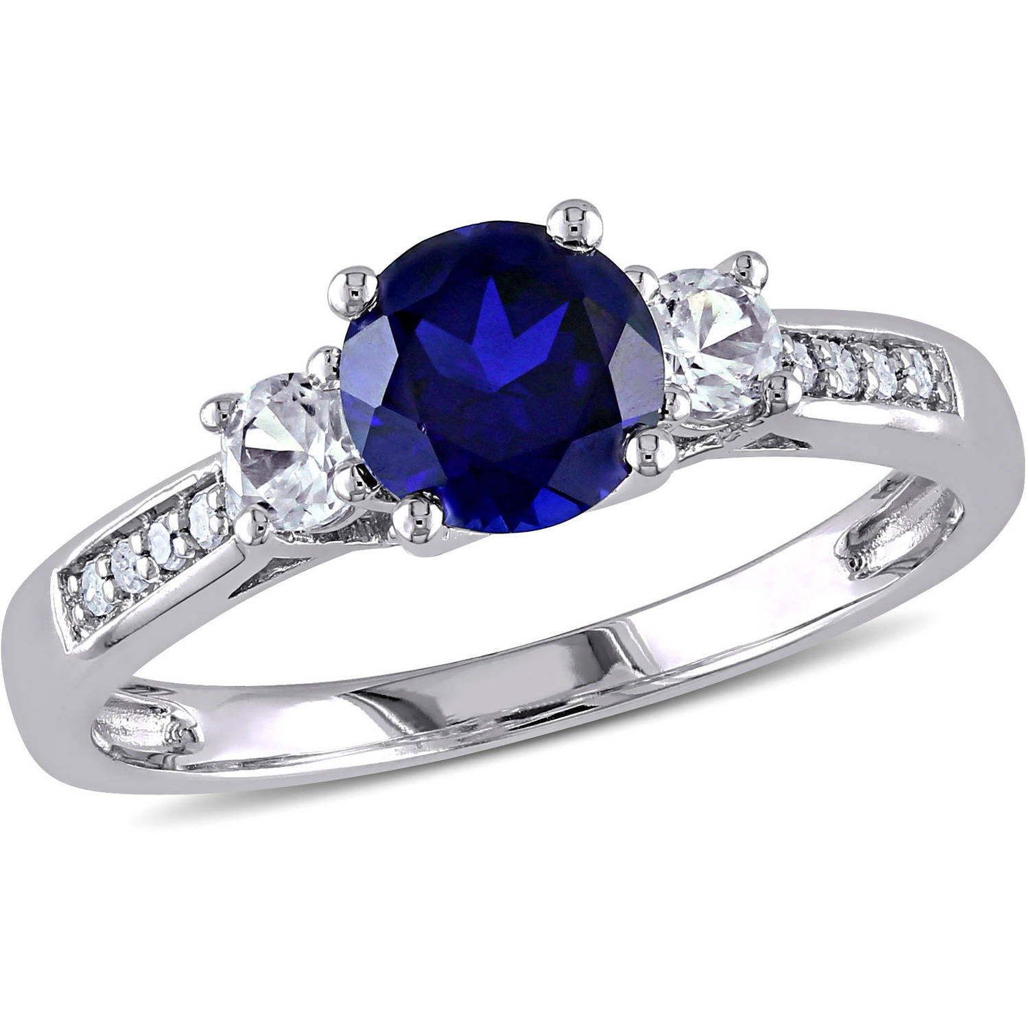 Tangelo 1-1/3 Carat T.G.W. Created Blue and White Sapphire Diamond-Accent 10kt White Gold Three Stone Ring