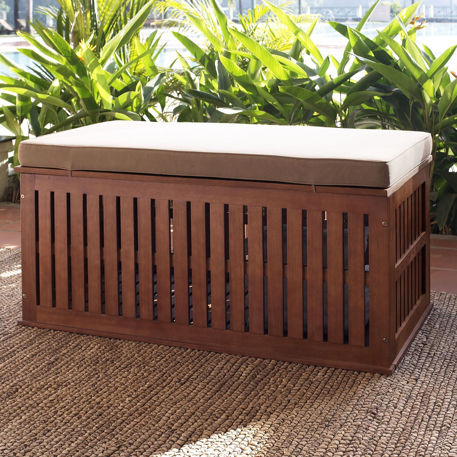Coral Coast Parkway 47 in. Outdoor Wood 70-Gallon Storage Deck Box with Cushion by