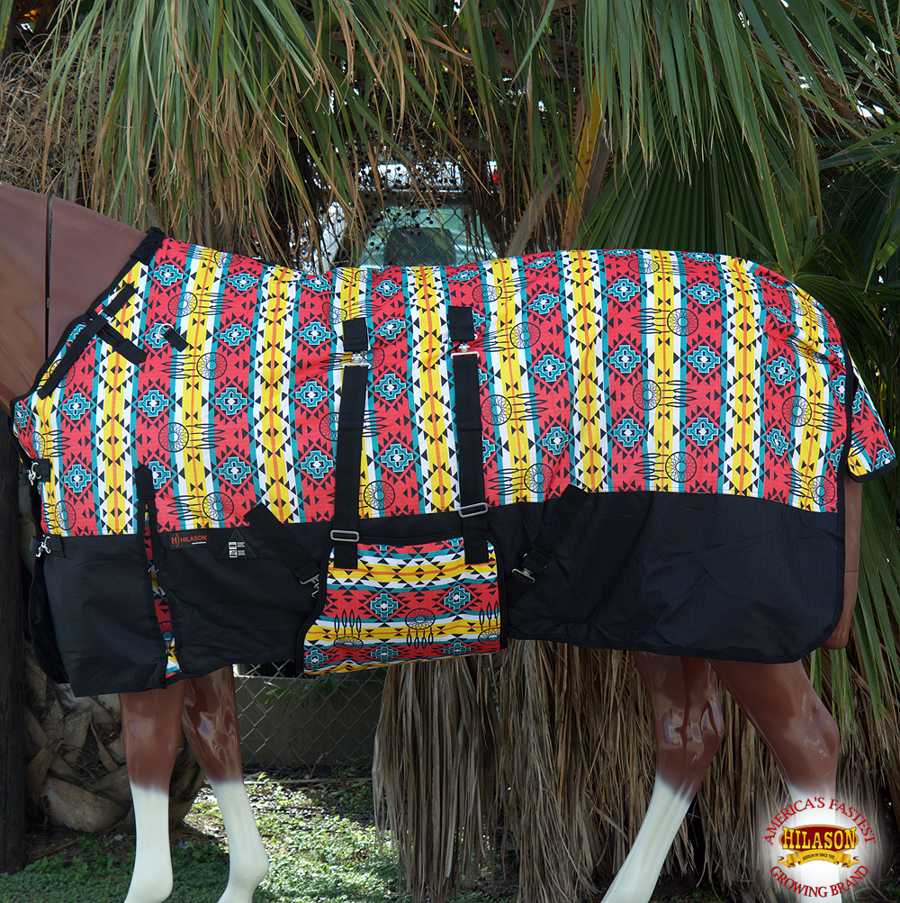 "66"" HILASON 1200D WINTER WATERPROOF HORSE BLANKET BELLY WRAP AZTEC BLACK"