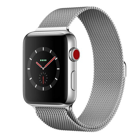 New Apple Watch series 3 42mm ( GPS + CELLULAR ) Silver Stainless Steel Case with Milanese Loop Band - (Best Silver Clarinet With Cases)