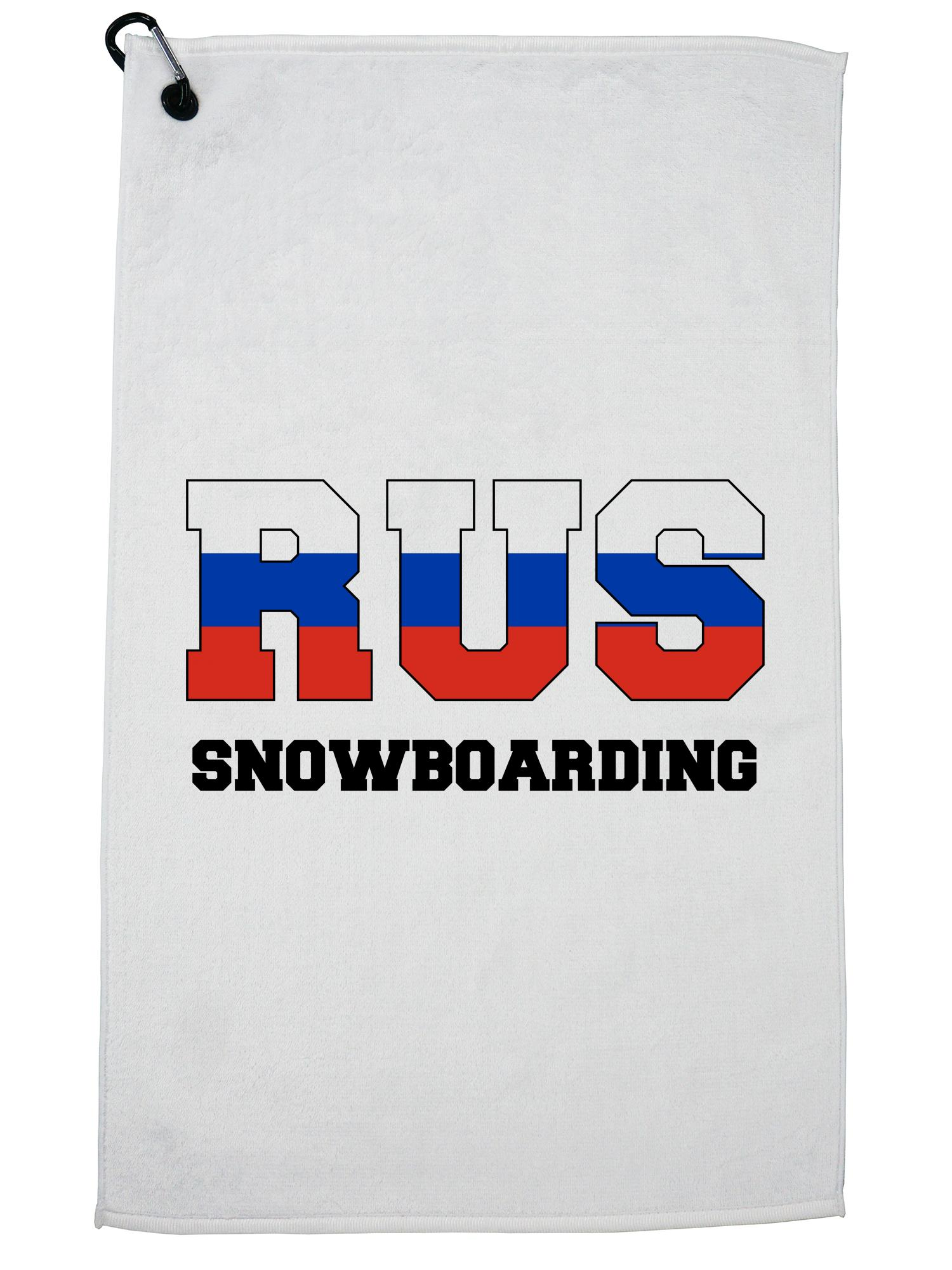 Russian Snowboarding Winter Olympic RUS Flag Golf Towel with Carabiner Clip by Hollywood Thread