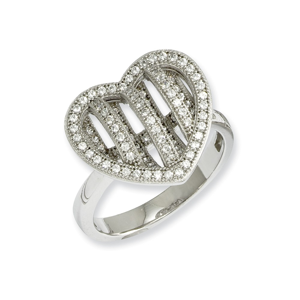 Sterling Silver & CZ Brilliant Embers Polished Heart Ring