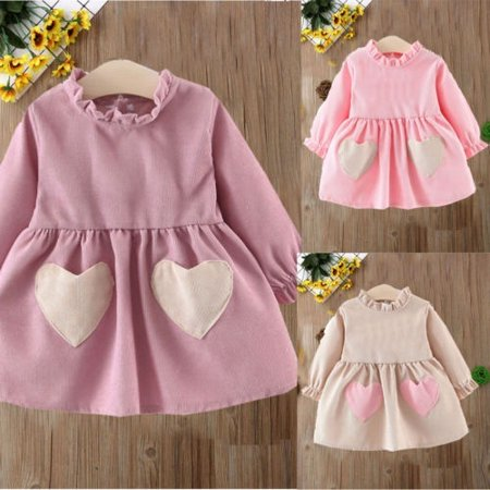 Party City Winter Springs (Baby Girls Dresses Spring Winter Long Sleeve Princess Party Heart-Shaped)