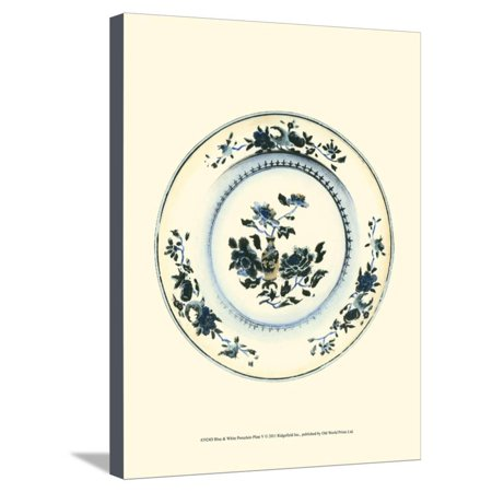 Blue and White Porcelain Plate V Stretched Canvas Print Wall Art
